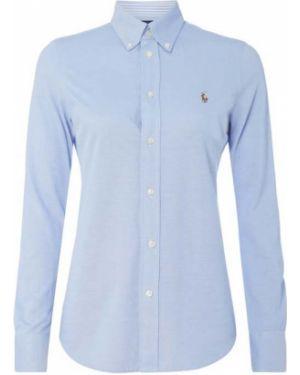 Niebieska bluzka z haftem bawełniana Polo Ralph Lauren