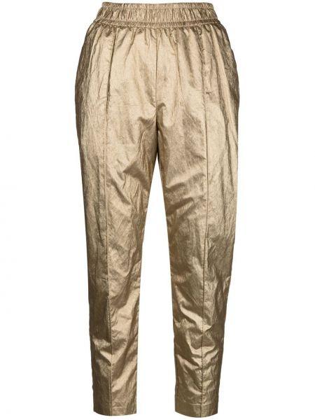 С завышенной талией желтые укороченные брюки с поясом Nude