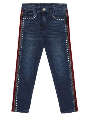 Ватные хлопковые синие джинсы с вышивкой Monnalisa