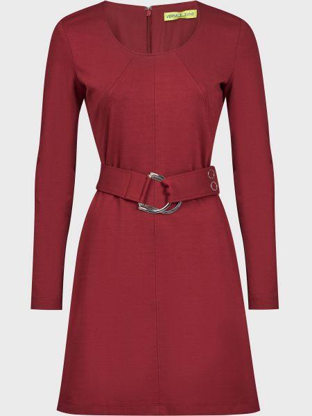 Красное платье с поясом из вискозы Versace Jeans