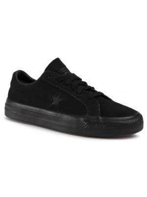 Skórzane sneakersy zamszowe czarne Converse