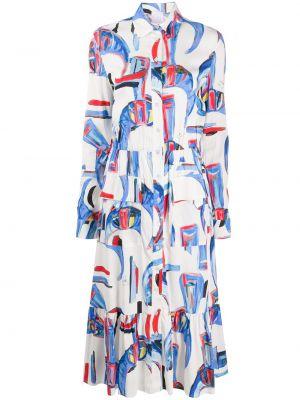 Белое классическое плиссированное платье миди с воротником Stella Jean