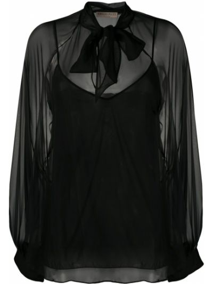 Шелковая черная блузка с бантом Emilio Pucci