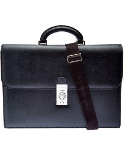 Черный портфель из плотной ткани с сеткой Moreschi