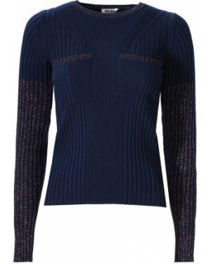 С рукавами синий свитер с люрексом с круглым вырезом Kenzo