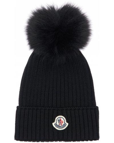 Czarny kapelusz wełniany Moncler