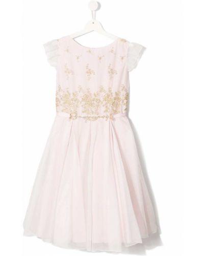 Хлопковая плиссированная розовая юбка на молнии Lesy