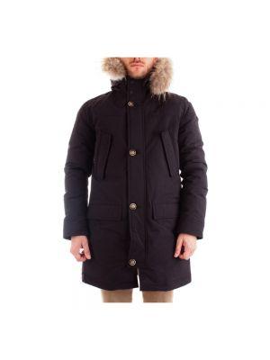 Czarny płaszcz z kapturem elegancki Atpco