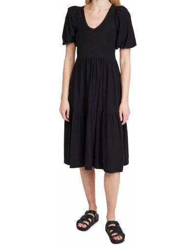 Трикотажное черное платье с декольте Nation Ltd