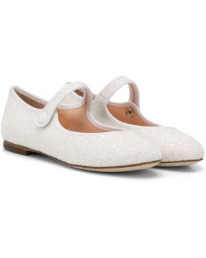 Кожаные белые ботинки на плоской подошве без застежки Prosperine Kids
