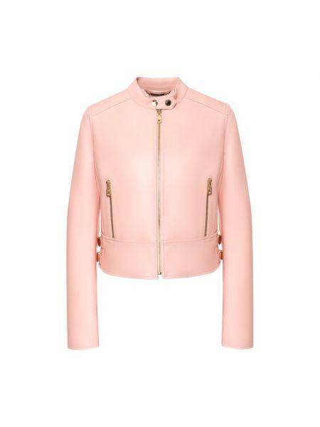 Кожаная куртка с воротником - розовая Dolce & Gabbana