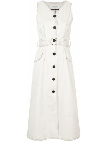 Соломенное хлопковое белое платье без рукавов Kimhekim