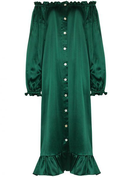 Satynowa zielona sukienka szmaragd Sleeper