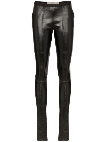 Черные кожаные леггинсы эластичные Rick Owens