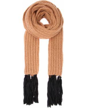 Вязаный шарф вязаный из мохера с бахромой прямоугольный Chapurin