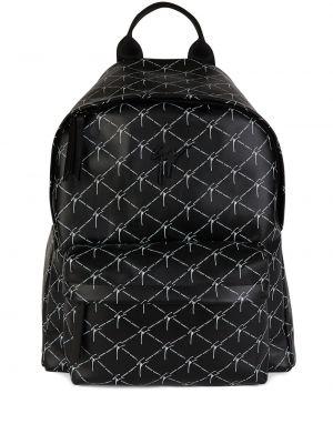 Czarny plecak skórzany z printem Giuseppe Zanotti