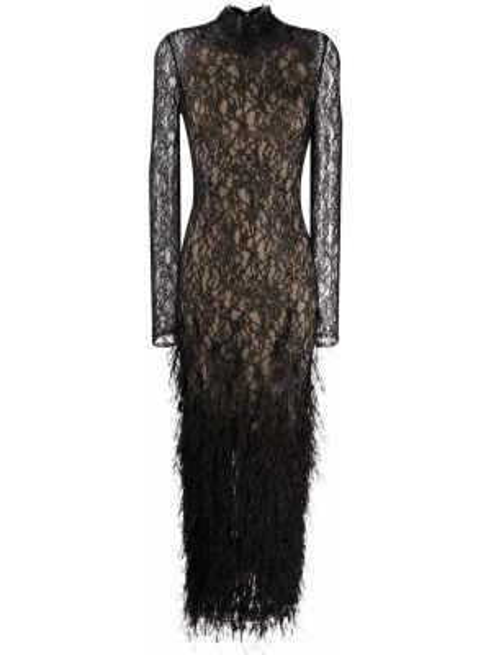 Черное вечернее платье с вышивкой с воротником с длинными рукавами Ralph & Russo