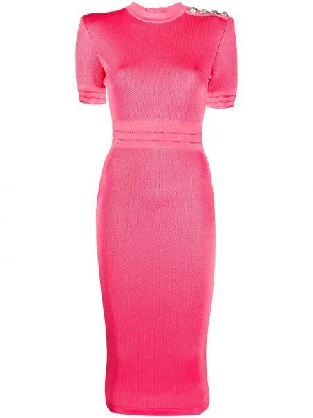 Różowa sukienka midi z wiskozy z wysokim stanem Balmain