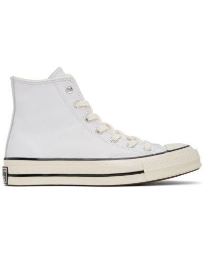 Skórzany czarny wysoki sneakersy na sznurowadłach z łatami Converse