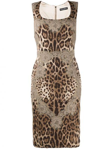 Приталенное ажурное платье миди без рукавов с вырезом Dolce & Gabbana