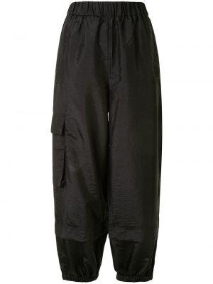 Брючные черные брюки карго с накладными карманами с заплатками Tibi