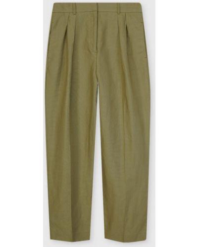 Льняные зауженные зеленые брюки Ostin