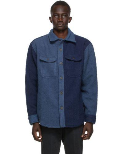 Niebieska koszula z długimi rękawami wełniana Aime Leon Dore