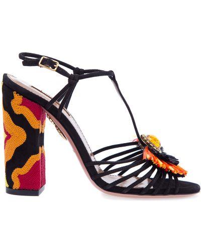 Босоножки на каблуке замшевые с пряжкой Aquazzura
