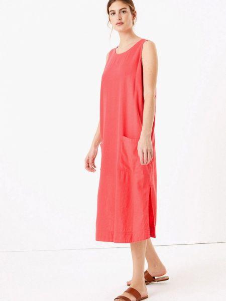 Повседневное платье красный весеннее Marks & Spencer