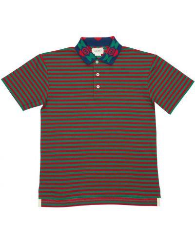 Klasyczna koszula krótki rękaw bawełniana w paski Gucci