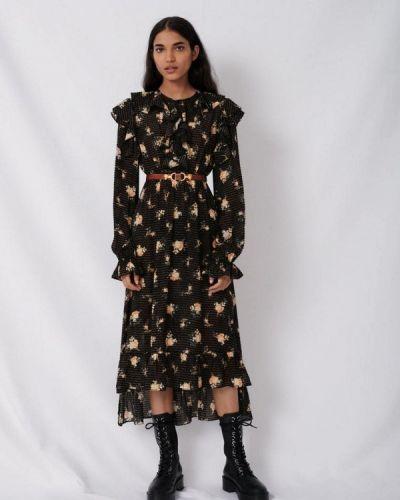 Повседневное черное повседневное платье Maje