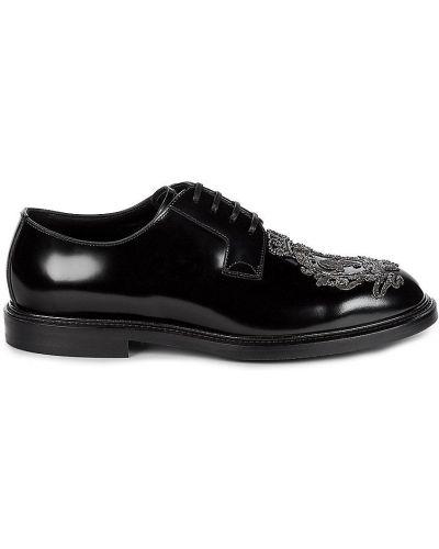 Czarne oksfordy skorzane sznurowane Dolce And Gabbana