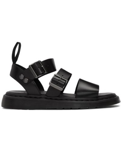 Черные кожаные сандалии прозрачные Dr. Martens