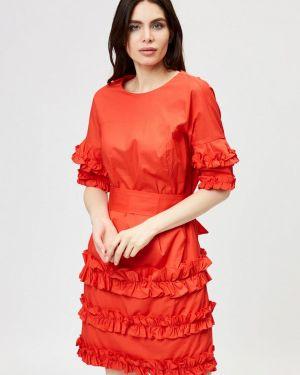 Платье прямое красный D'she