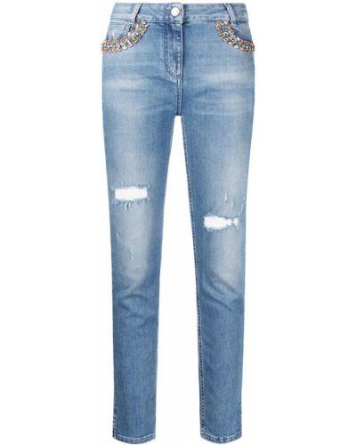 Синие зауженные джинсы-скинни стрейч Blumarine