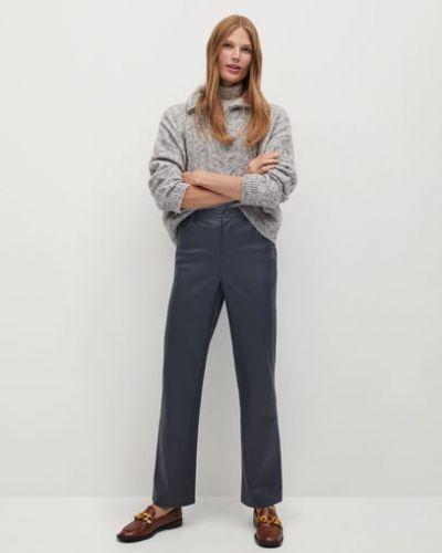 Кожаные серые прямые брюки с карманами на молнии Mango