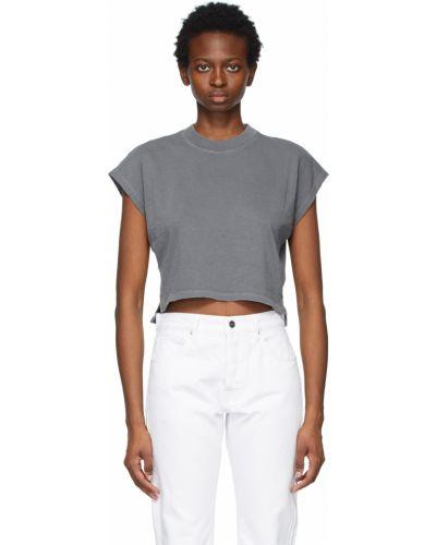Szary t-shirt bawełniany bez rękawów Frame