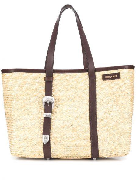 Соломенная коричневая кожаная сумка-тоут Kate Cate