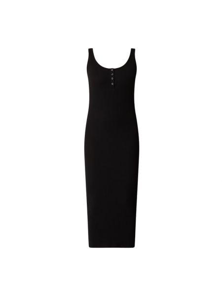 Prążkowana czarna sukienka midi bawełniana Pieces