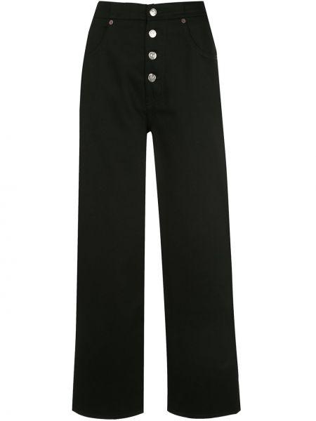 Bawełna czarny jeansy na wysokości z kieszeniami z łatami Mm6 Maison Margiela