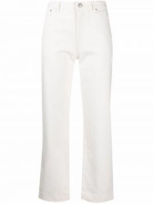 Расклешенные белые укороченные джинсы на молнии A.p.c.