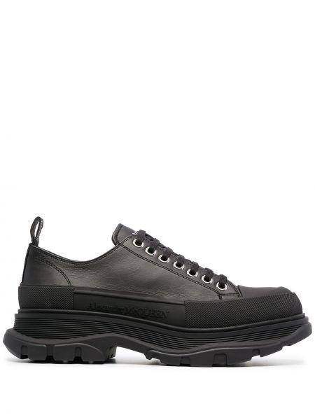 Массивные кожаные черные кроссовки Alexander Mcqueen