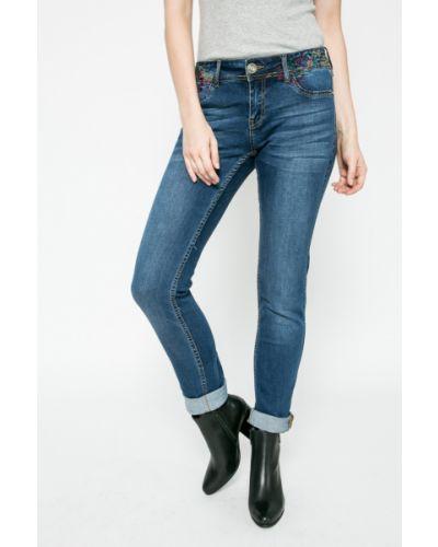 Прямые джинсы синие с эффектом потертости Desigual
