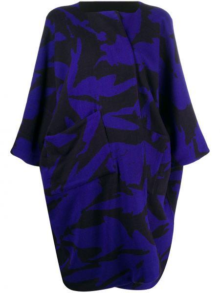 С рукавами синее шерстяное укороченное пальто оверсайз Daniela Gregis