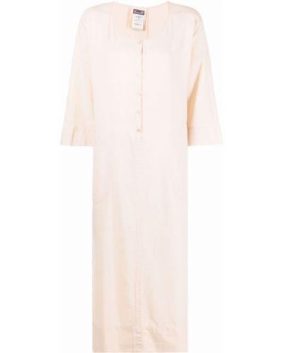 Хлопковое розовое платье макси с длинными рукавами Kristensen Du Nord