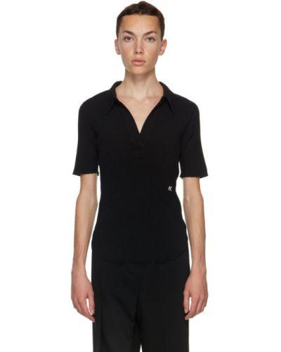Zawężony czarny koszulka polo z haftem krótkie rękawy Helmut Lang