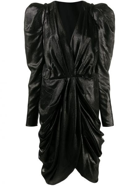 Jedwab czarny asymetryczny sukienka mini z falbankami Isabel Marant