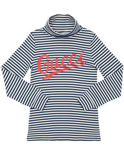 Bawełna z rękawami bawełna niebieski t-shirt Gucci