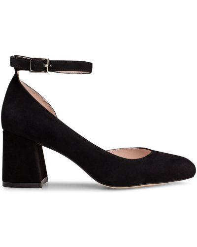 Туфли на каблуке черные кожаные Portal