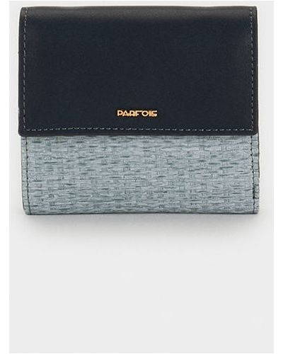 Кожаный кошелек на молнии синий Parfois